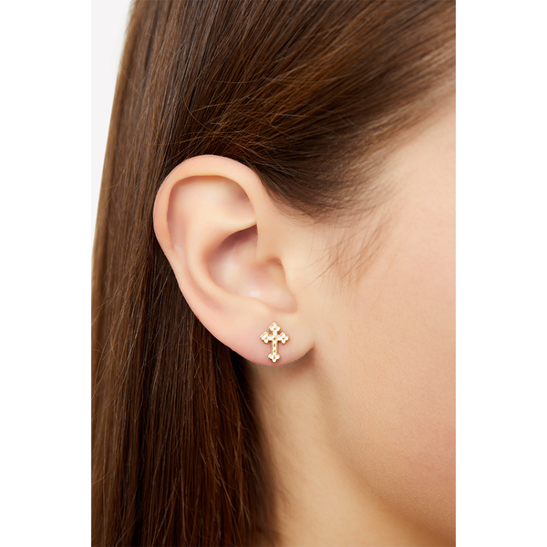 ENAMEL CROSS STUD EARRINGS