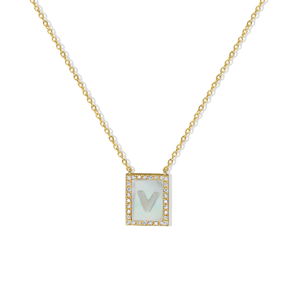 THE MOTHER OF PEARL INITIAL PENDANT