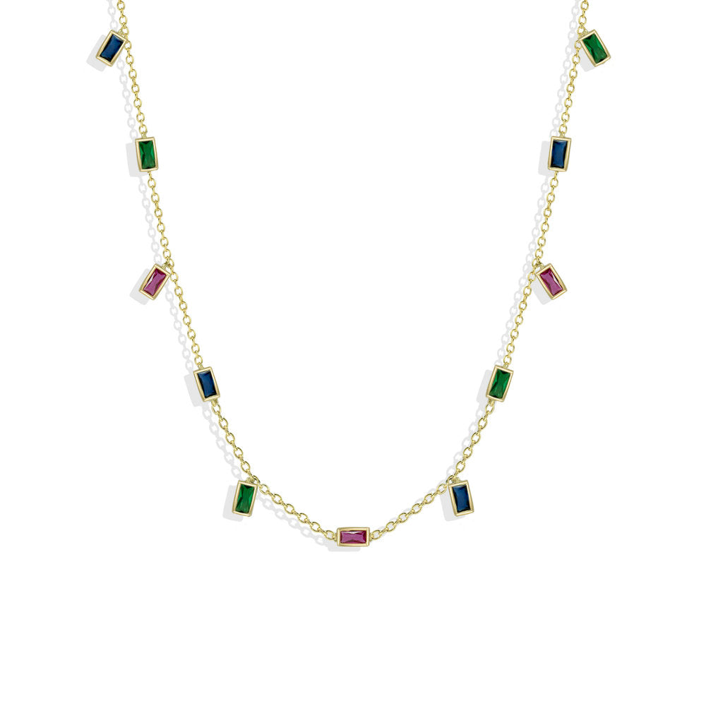 RAINBOW BAGUETTE CHARM NECKLACE
