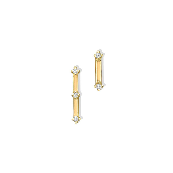 MISMATCH CZ BAR STUD EARRINGS