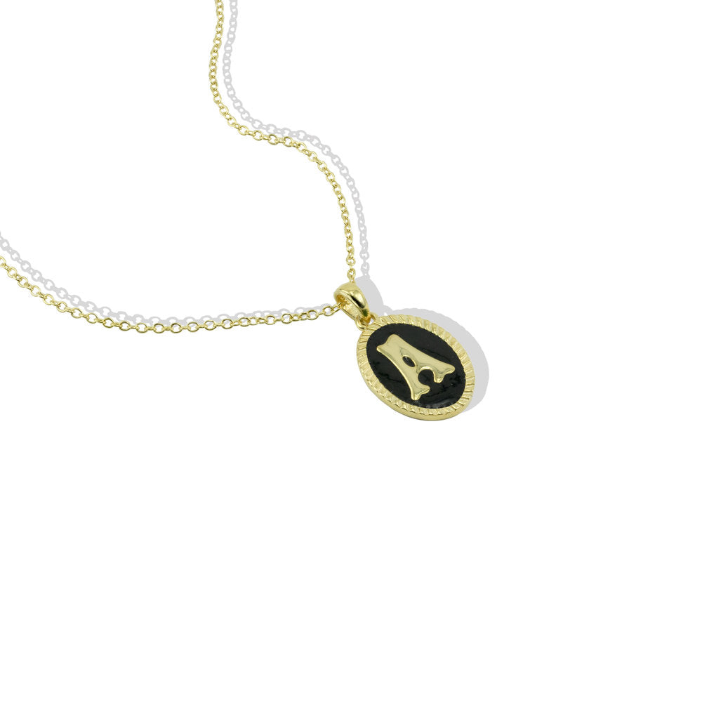 ENAMEL INITIAL PENDANT NECKLACE