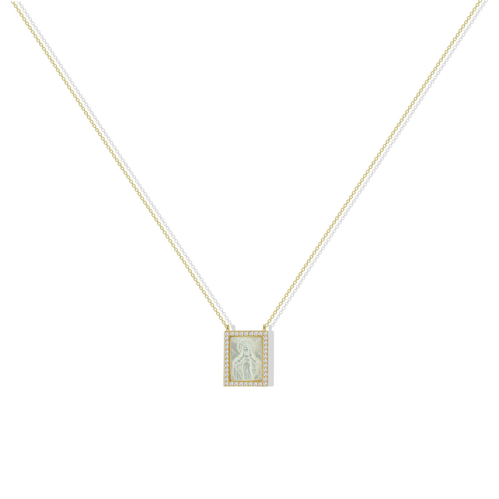 THE MOTHER OF PEARL VIRGIN MARY SQUARE PENDANT