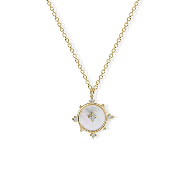 THE MOTHER OF PEARL CIRCLE PENDANT NECKLACE