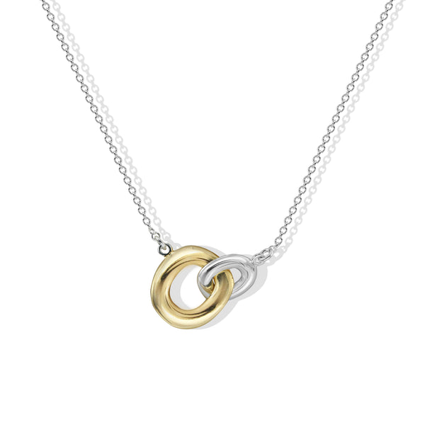 THE TWO TONE LINKED PENDANT NECKLACE