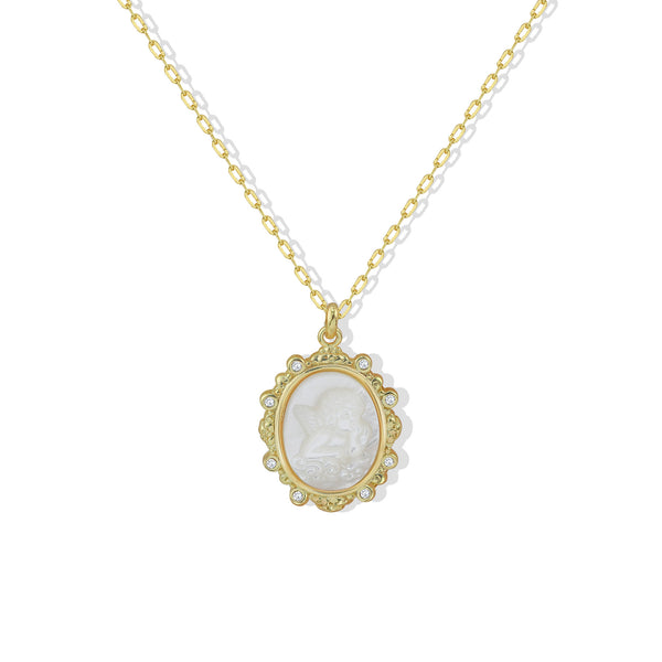 THE MOTHER OF PEARL ANGEL PENDANT NECKLACE