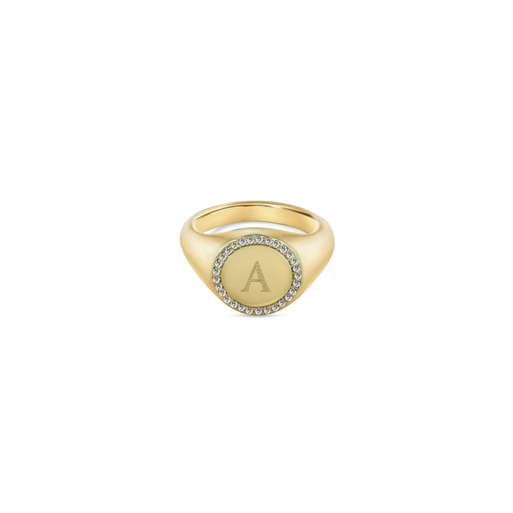 THE SMALL ROUND SIGNET RING WITH CZ