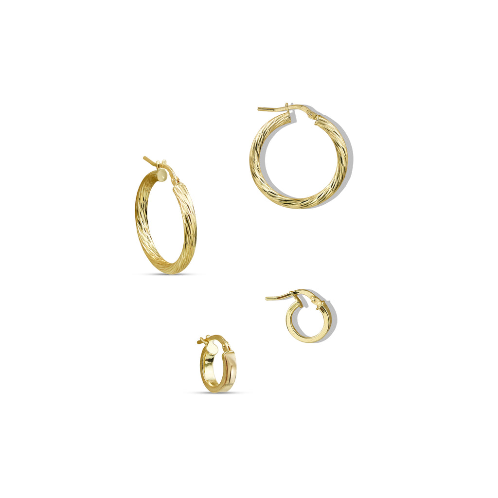 THE TEXTURED GOLD HOOP SET