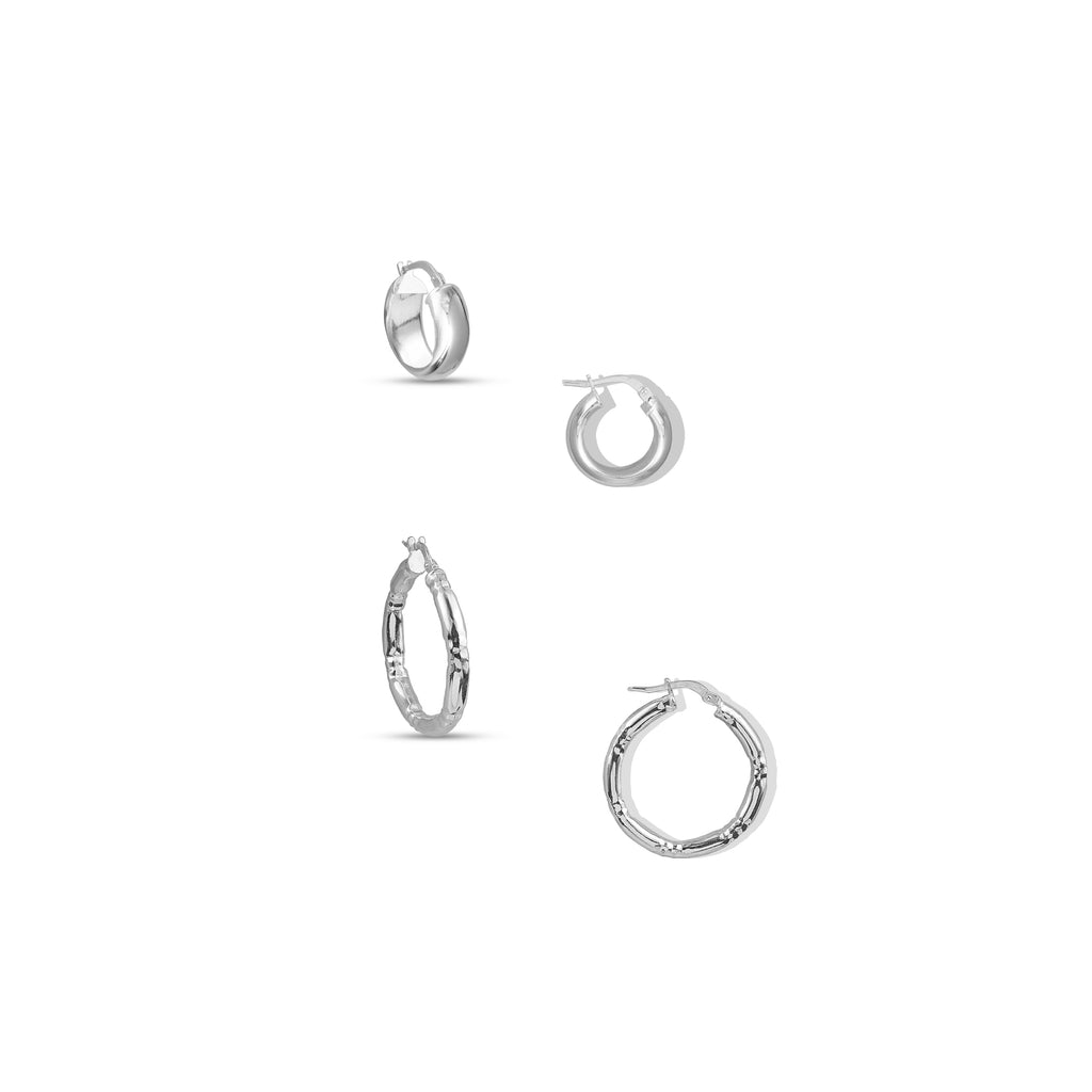 THE TEXTURED SILVER HOOP SET