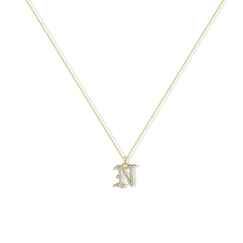 THE CZ GOTHIC INITIAL NECKLACE