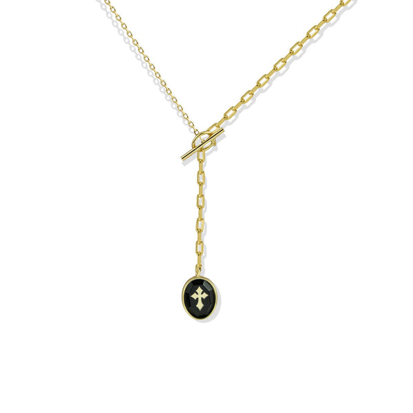 ENAMEL MINI CROSS LARIAT NECKLACE