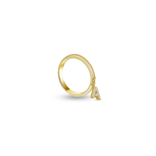 THE CZ INITIAL CHARM RING