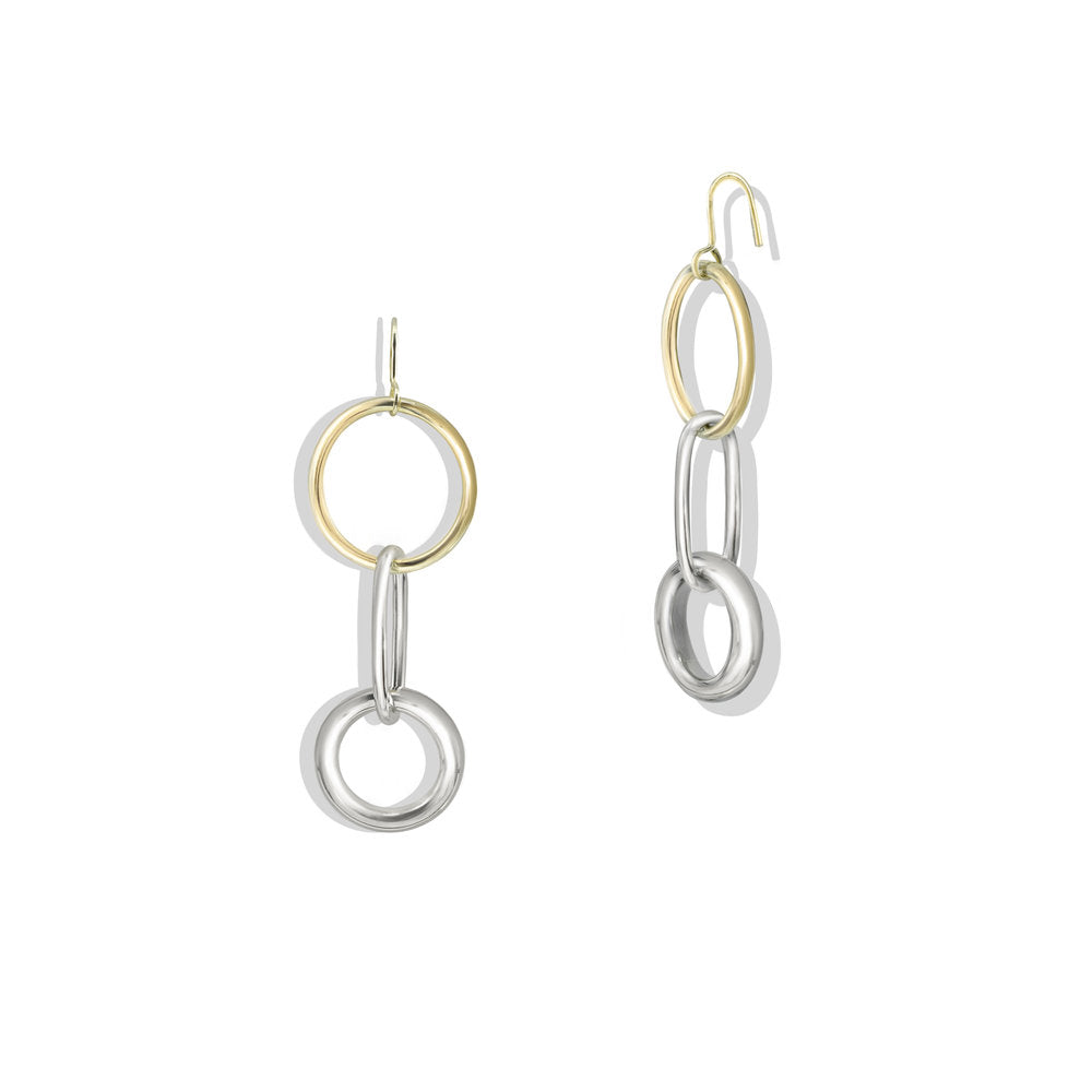 TWO TONE DROP HOOPS