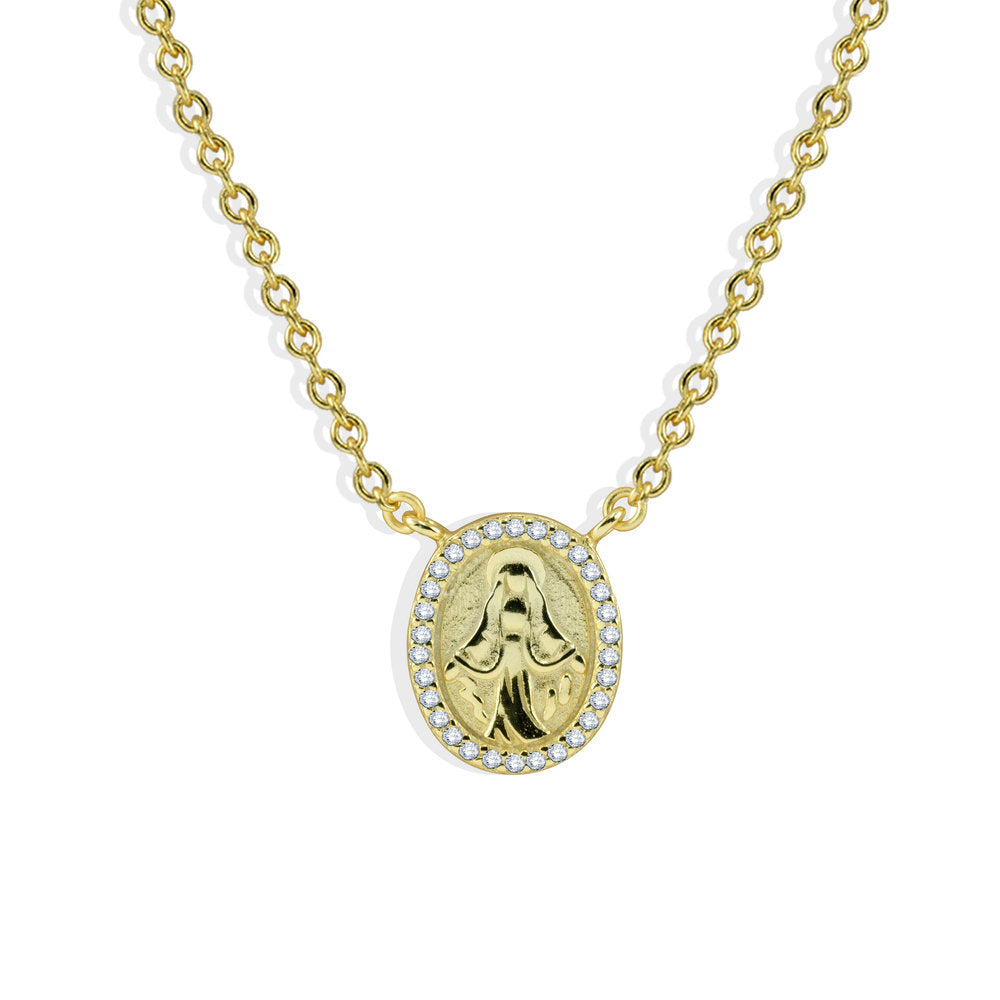 MINI VIRGIN MARY PENDANT NECKLACE