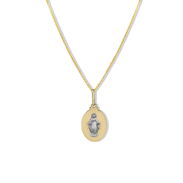 THE TWO TONE VIRGIN MARY NECKLACE