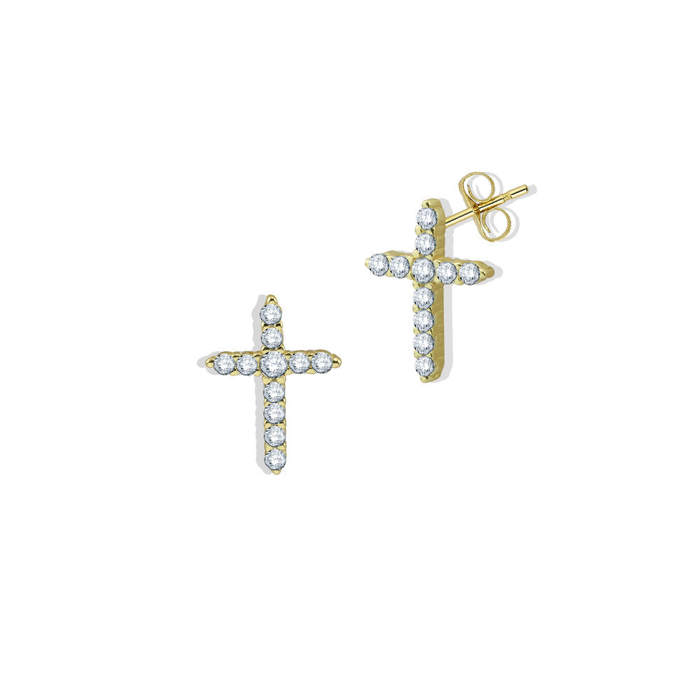 CZ CROSS STUD EARRINGS