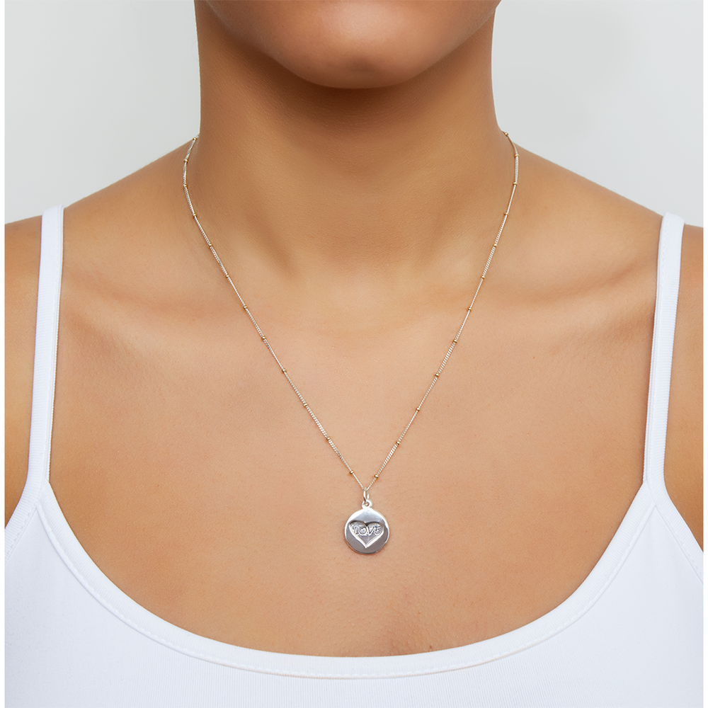 LOVE AND HEART PENDANT NECKLACE