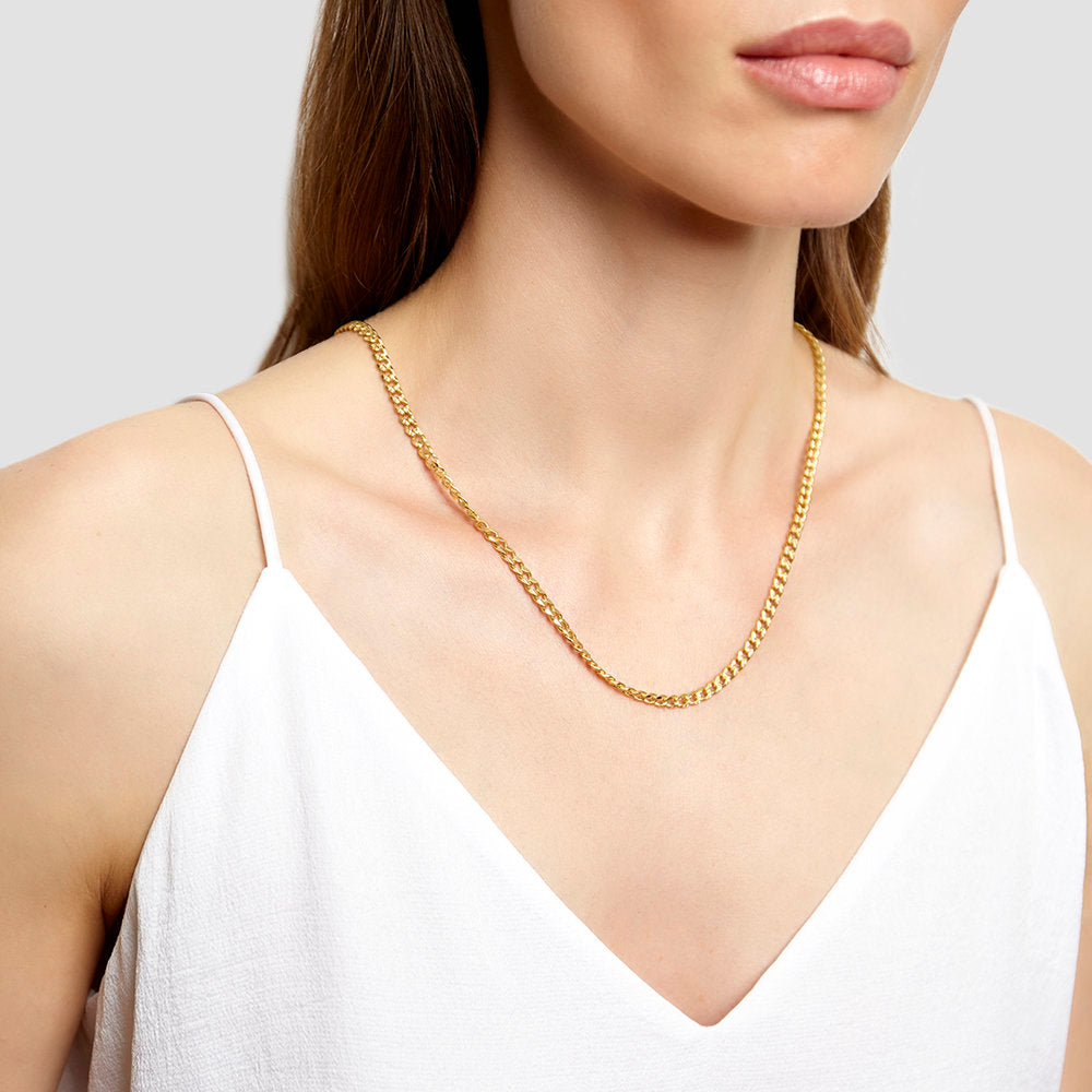 TEXTURED CURB CHAIN NECKLACE
