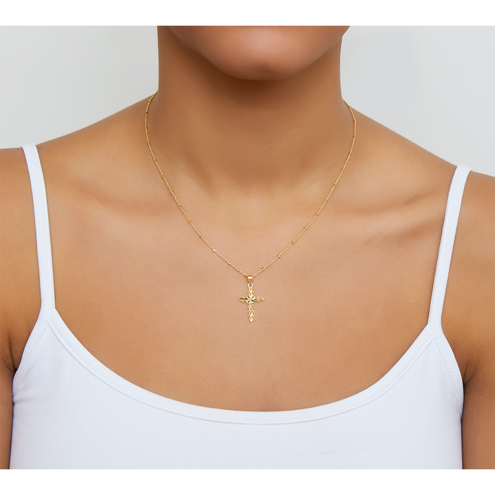 LACE CROSS PENDANT NECKLACE