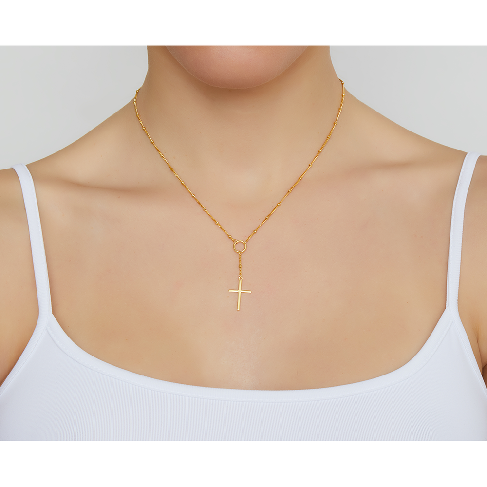 CROSS DROP LARIAT NECKLACE