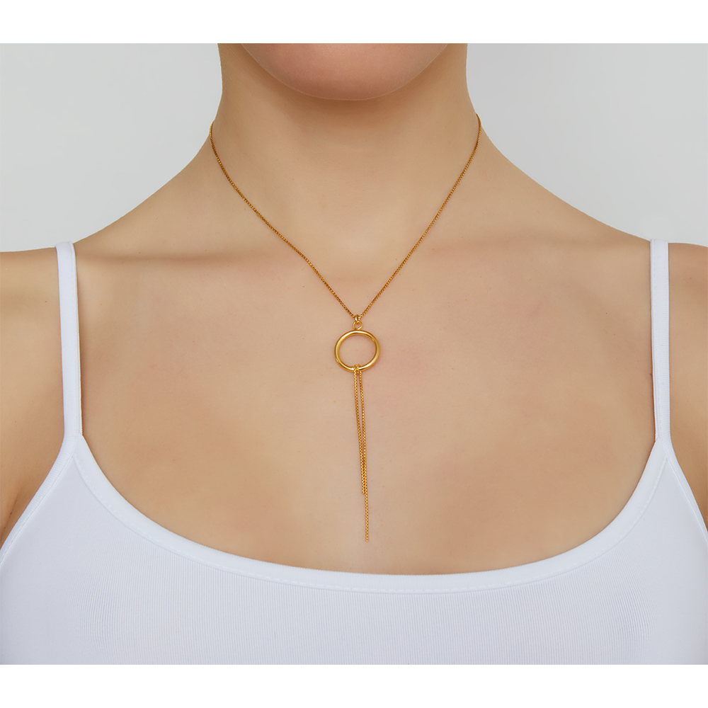 CIRCLE PENDANT LARIAT NECKLACE