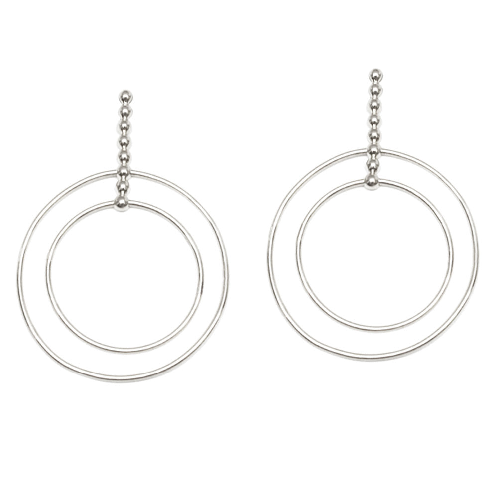 BEADED DOUBLE DROP HOOPS