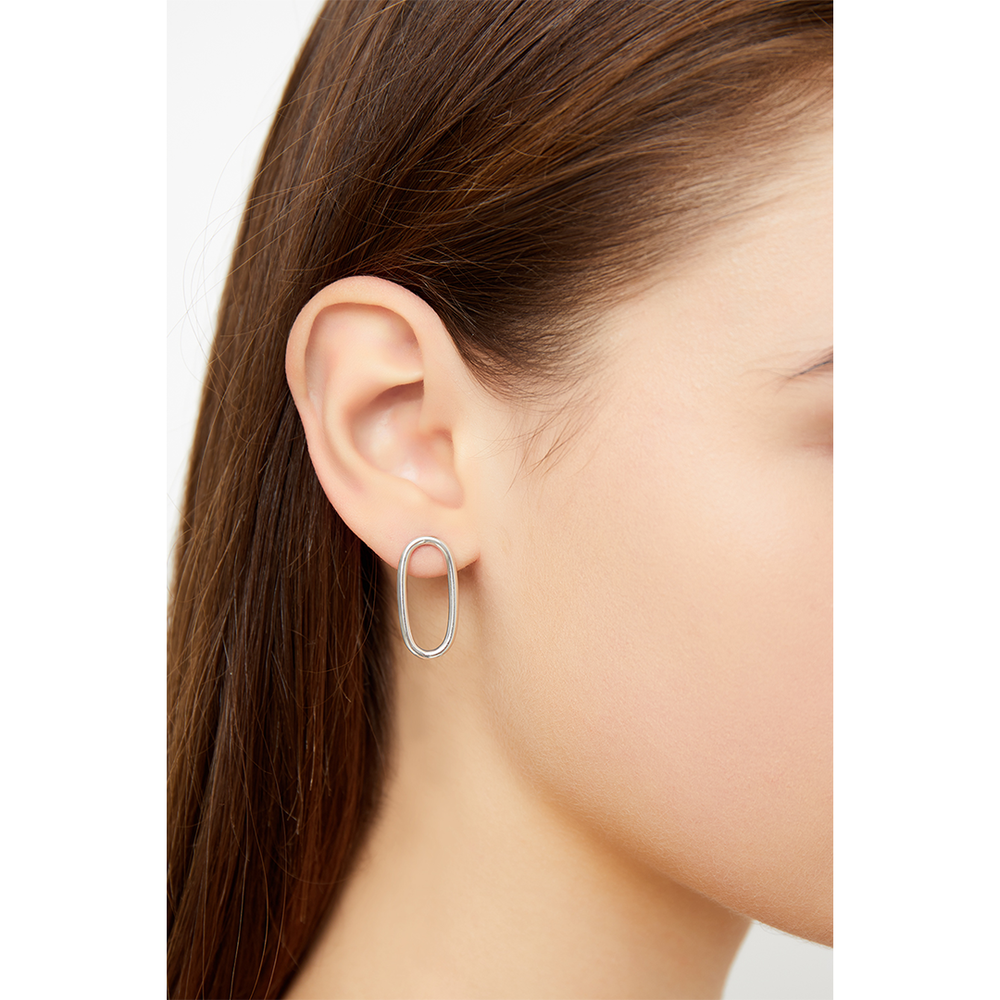 OVAL DROP STUD EARRINGS