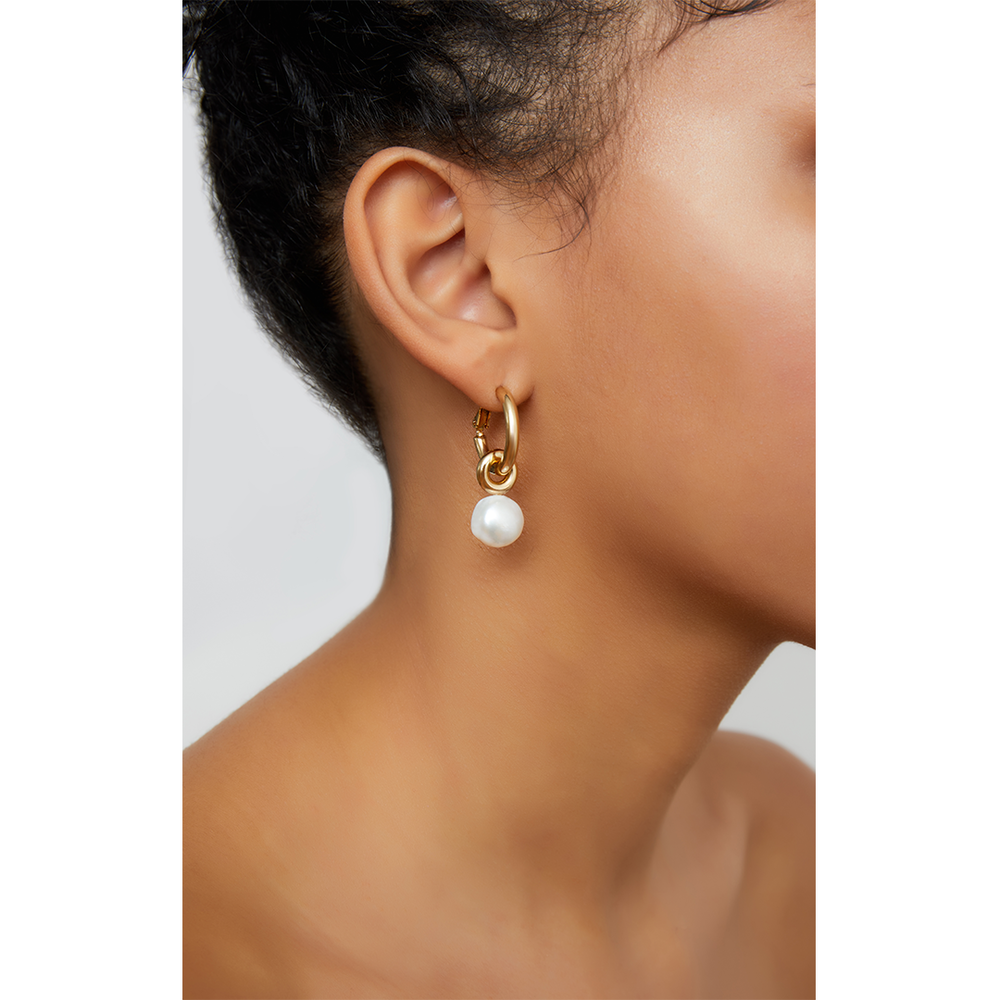 PEARL DROP HOOPS