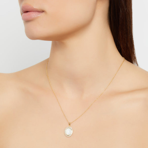 MOTHER OF PEARL GUADALUPE NECKLACE