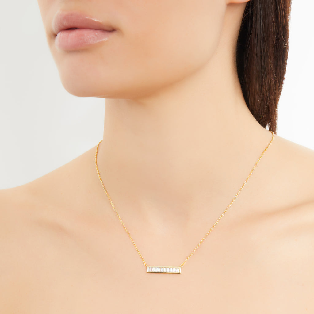 BAGUETTE BAR PENDANT NECKLACE