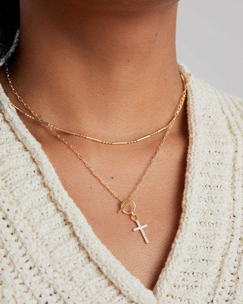 THE TOGGLE CZ CROSS NECKLACE