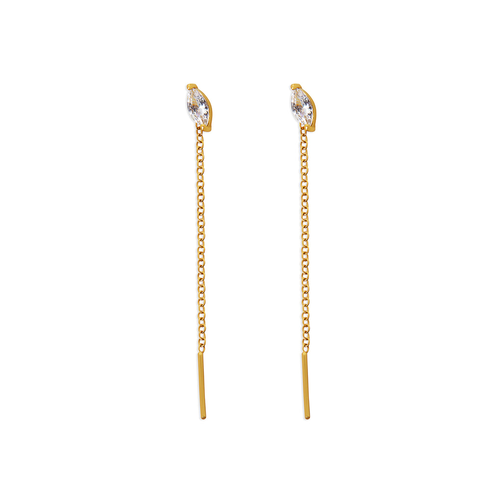 THE CZ MARQUISE THREADER EARRING