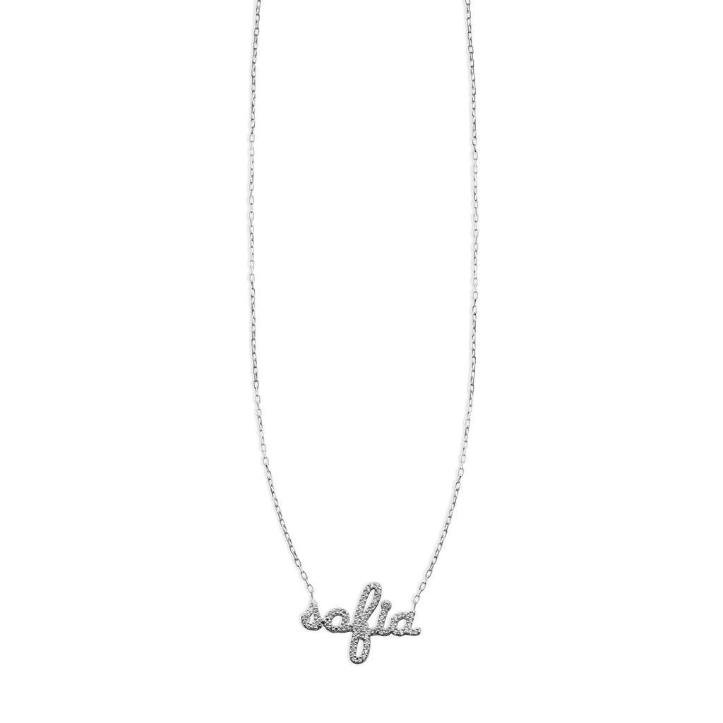 THE PERSONALIZED LOWERCASE SCRIPT CZ NECKLACE