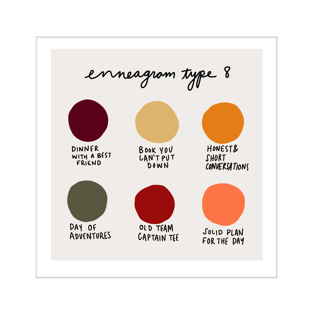 enneagram type 8 color dot art print