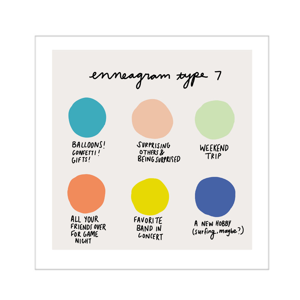 Enneagram 7 Color Dot Mini Print