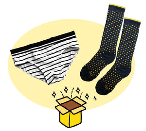men subscription box: a pair of briefs and a pair of socks