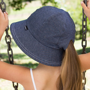 Girls Denim Bucket Hat with ponytail