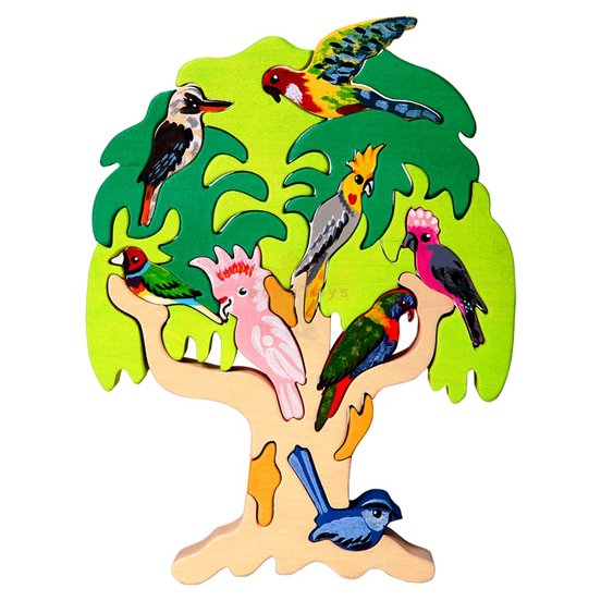 Fauna Australian Bird Tree Wooden Puzzle 17 Pieces