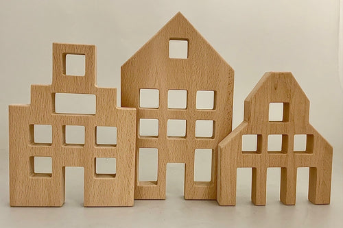 Papoose Dutch Wooden Houses 3 Pieces
