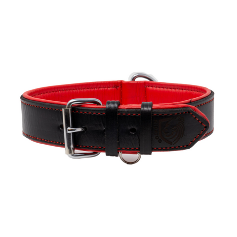 Riparo Genuine Leather Padded Dog Heavy Duty K-9 Adjustable Collar - Black/Red Thread