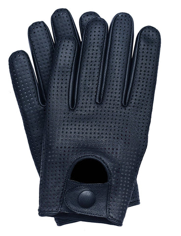 Riparo Men's Leather Mesh Perforated Summer Driving Gloves - Black