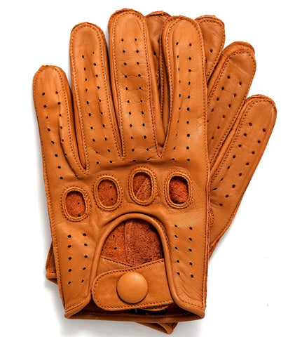 Riparo Women's Reverse Stitched Leather Full-Finger Driving Gloves - Cognac