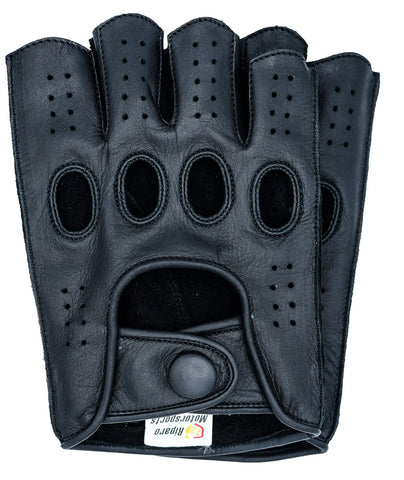 Riparo Men's Reverse Stitched Fingerless Leather Driving Gloves - Black