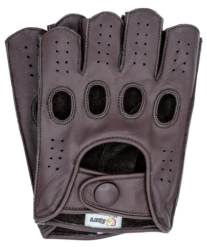 Riparo Men's Reverse Stitched Fingerless Leather Driving Gloves - Brown