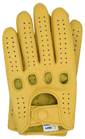Riparo Men's Reverse Stitched Leather Full-Finger Driving Gloves - Camel