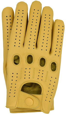 Riparo Men's Leather Full-Finger Driving Gloves - Camel