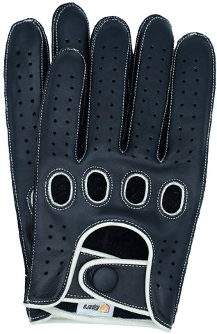 Riparo Men's Reverse Stitched Leather Full-Finger Driving Gloves - Black/White