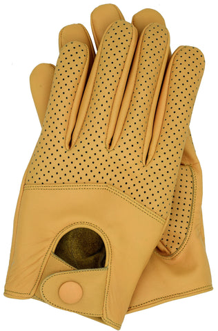 Riparo Men's Leather Half Mesh Driving Gloves - Camel