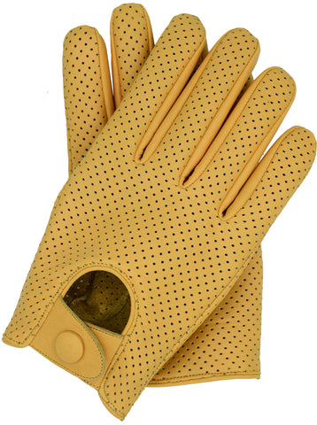 Riparo Men's Leather Mesh Perforated Summer Driving Gloves - Camel