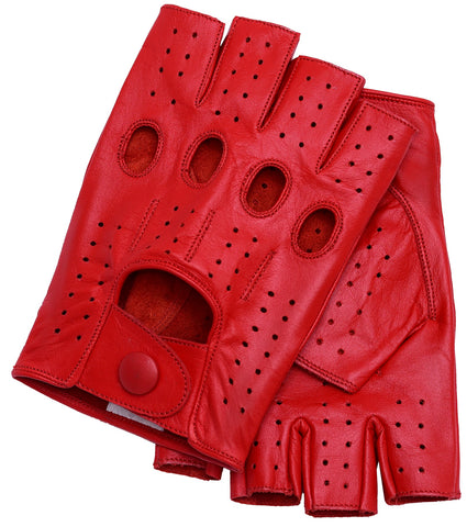 Riparo Men's Fingerless Driving Gloves - Red