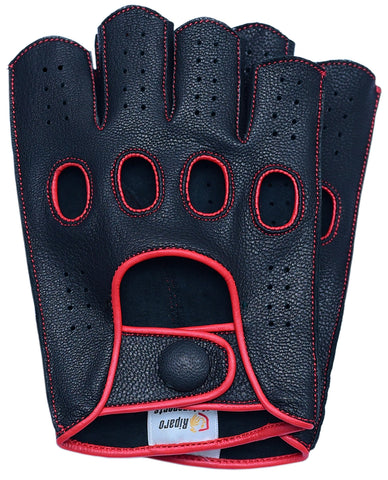 Riparo Women's Reverse Stitched Fingerless Leather Driving Gloves - Black/Red